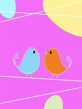 PAINTING BLUE ORANGE BIRDS CARTOON ABSTRACT KIDS CHILDREN POSTER PRINT BMP10012