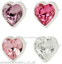 Hypoallergenic Blomdahl medical plastic crystal heart stud earrings nickel free