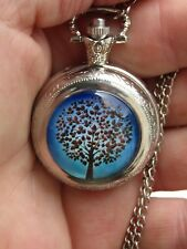 SILVER TONE TREE OF LIFE NECKLACE PENDANT POCKET WATCH ART WATCH LONG CHAIN