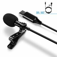 USB-C Lavalier Lapel Microphone Omnidirectional Mic For Smartphone Laptop Tab PC