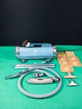 Vintage Electrolux Automatic G Vacuum Cleaner turuoise blue RUNS w/ ATTACHMENTS