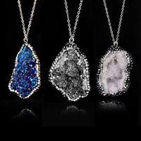 Reiki Irregular Crystal Origin Nature Stone Pendant Necklace Men Women Jewelry