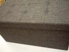 RELAXDAYS BROWN FOLDING STURDY STORAGE STOOL OTTOMAN LONG LINEN BOX