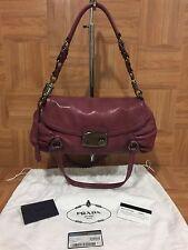 $2100❤ Prada Ruched Pushlock Shoulder Bag Calf Screw Leather Purple B2R795 AUTH