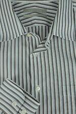 Nordstrom Men's White Brown & Blue Striped Cotton Dress Shirt 16 x 34/35