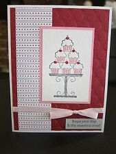 Stampin Up Happy Birthday Cupcake Tower Handmade Card w/ Pink Rhinestones (Red)
