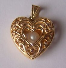 14K Gold Michael Anthony Filigree Heart Pearl Pendant 3.8 Grams Vintage from HSN