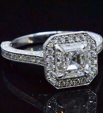 2.51 Ct Asscher Cut Diamond Halo Pave Engagement Ring G,VS1 Certified 14KW