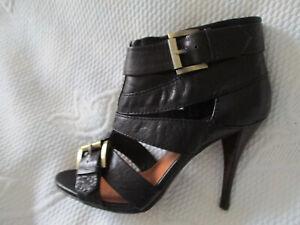 Ladies Gorgeous BERTIE Black Strappy high front high heeled shoe U K. 4 (EUR 37)