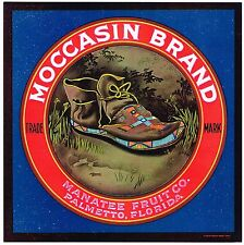 Crate Label Vintage Florida Moccasin Palmetto Manatee Genuine Rare C1930S