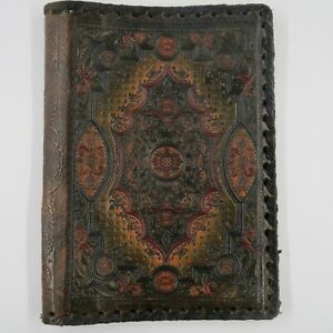 """Vintage Ornate Italian Leather Hand Tooled Embossed Small Book Cover 9""""x6.5"""""""