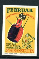 Reklamemarken Cinderella Poster stamps Black Cat in Barrel & Clown red nose