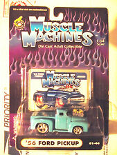 Muscle Machines 56 1956 Light Blue Hotrod Ford Pickup Truck Cool Color! Cars
