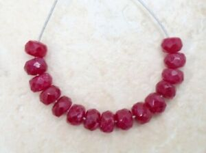 Sale! Natural RUBY Faceted Rondelle (3.5-4 mm) 10 Loose Precious Gemstone Beads