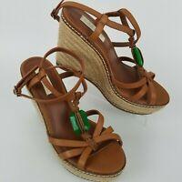 Lauren Ralph Lauren Women's 7.5B Brown Strappy Espadrille Wedge Heel Sandals