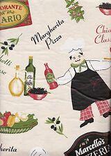 Fat Chef Ristorante Pizzeria vinyl flannel backed tablecloth 52 x 90