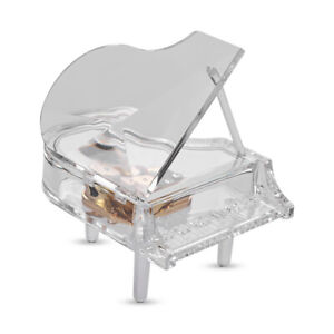 Mechanical Wind-up Piano Shape Music Box Transparent Acrylic Classic Melody R7P5