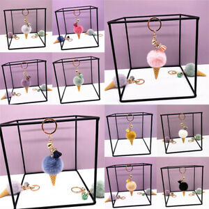 Ice Cream Pendant Ring Keychain Cute Keychain Plush Bags Hang Cone Car Key Ch_cd