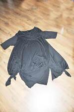 Designer Lagenlook Tunic Dress with Pointed Tails Long Black One Size 70 cm Wide
