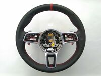 PORSCHE 911 BOXSTER CAYENNE MACAN PANAMERA NAPPA STEERING WHEEL heated RED MARK
