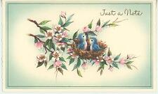 VINTAGE BLUEBIRDS BABIES BIRD NEST APPLE BLOSSOM FLOWERS TREE CARD ART PRINT