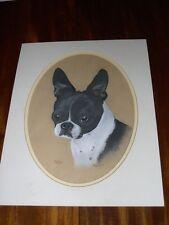 More details for antique large boston terrier dog painting signed dog named