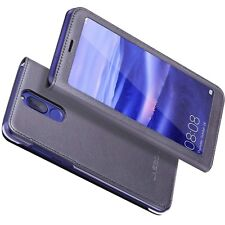 HUAWEI Mate 10 Lite Premium PU Pelle/Custodia in microfibra-Grigio/marrone-UK Stock!