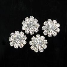 SALE 10 x Silber Strass Blumen Klar Knöpfe Knopf Flatback nähen Dekor Verzierung