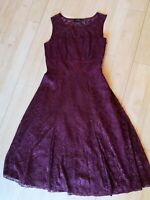 Ladies Dress Size 8 Plum/Burgundy Lace Fit and Flare Smart Party Evening
