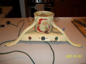 VINTAGE METAL LIGHTED LIGHT UP CHRISTMAS TREE STAND, NOMA, DECALS, SANTA & BELLS