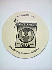 Vintage ROBINSONS - INN SIGNS - SARACEN'S HEAD - Cat No'105 Beermat / Coaster