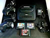 Sega Genesis Console Game Lot Of 8 Console MK-1631 Controllers  3 Games Columns
