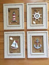 4Pc Framed Anchor Boat Coastal Beach Wall Art Seaside Lighthouse Nautical Decor
