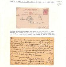 AQ12 1900 GOLD COAST *Aburi* WESLEYAN MISSIONARY Message Stationery Card Bristol