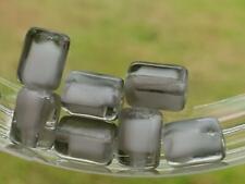 Vintage Glass Beads ~ Gray Givre Barrel Bohemian German NOS DIY Jewelry Making