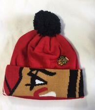 Chicago Blackhawks Knit Beanie Toque Winter Hat Cap NHL NEW Big Logo Cuffed Pom