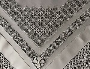 EXQUISITE ANTIQUE LARGE IRISH LINEN TABLECLOTH~STUNNING DRAWN THREAD WORK/LACE
