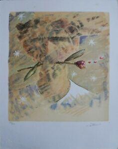 Giampaolo Talani litografia a colori Volto con rosa 43x33 firmata 146/200 esempl