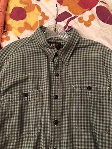 RRL Double RL Polo Ralph Lauren Mint Green/Gray Shirt XL