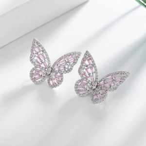 Women White Gold Silver Crystal CZ Butterfly Stud Earrings Post on the Edge PE58