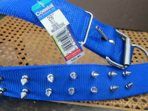 """New Coastal Spiked Dog Collar 28"""" Blue Double row of spikes"""