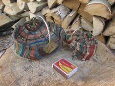 Lot 2 pcs Vintage Primitive hand made miniature toy basket