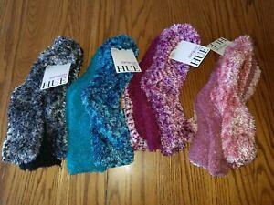 New Womens HUE Soft Cozy Socks 3 Pack Blue Turquoise Burgundy Pink Mauve Black