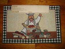 Home Impressions Tapestry Placemats ITALIAN Chef PASTA Spaghetti BREAD Checkered