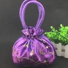 Fashion Women's Purple Embroider Flower Silk Satin Bag Purse Jewelry Handbag