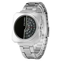 PAIDU Mens Silver Black Stainless Steel Unique Turntable Dial Quartz Wrist Watch