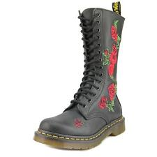 Dr. Martens 14 Eye Vonda 12761001 Black Embroided Leather Womens BOOTS UK 4