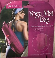 "Yoga Mat Bag NEW Lotus Orchid 28"" x 6"" Travel Exercise Bag Drawstring & Pocket"