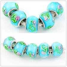 Wholesale 100Pcs Flower Lampwork Glass Charm Big Hole Bead fit European Bracelet