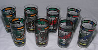 Set of 8 Glasses Tumblers American Songbirds MCM Stained Glass Style Clear Multi